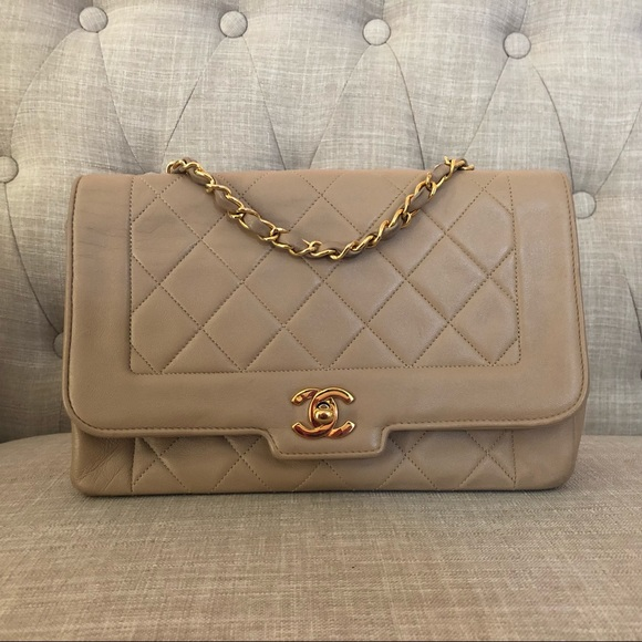 f1c9884f89f5bb CHANEL Handbags - Chanel vintage Lambskin Diana beige flap gold bag